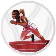 Jesse Owens Round Beach Towel