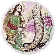 Jesus And Serpent Round Beach Towel
