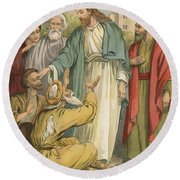 Jesus And The Blind Men Round Beach Towel