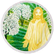 Jesus On Mount Thabor Round Beach Towel