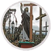 Jesus On The Hill Of Crosses. Lithuania Round Beach Towel