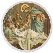 Jesus Raising Jairus's Daughter Round Beach Towel