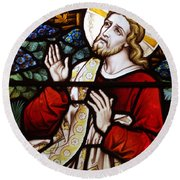 Jesus Stained Glass Round Beach Towel
