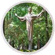 Jesus Statue Round Beach Towel