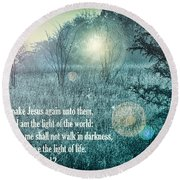 Jesus The Light Of The World Round Beach Towel