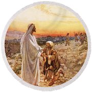 Jesus Withe The One Leper Who Returned To Give Thanks Round Beach Towel