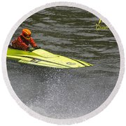 Jetboat In A Race At Grants Pass Boatnik With Text Round Beach Towel