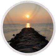 Jetty Sunrise Round Beach Towel