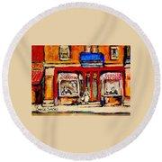 Jewish Montreal Vintage City Scenes De Bullion Street Cobbler Round Beach Towel