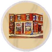 Jewish Montreal Vintage City Scenes Hutchison Street Butcher Shop  Round Beach Towel
