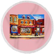 Jewish Montreal Vintage City Scenes Moishes St. Lawrence Street Round Beach Towel