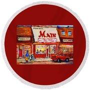 Jewish Montreal Vintage City Scenes The Main Rib Steaks On St. Lawrence Boulevard Round Beach Towel