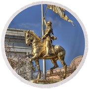 Joan Of Arc Statue New Orleans Round Beach Towel