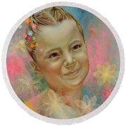 Joana's Portrait Round Beach Towel