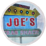 Joe's Crab Shack Retro Sign Round Beach Towel