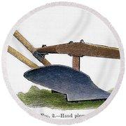 John Deere Plow Round Beach Towel