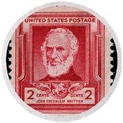 John Greenleaf Whittier Postage Stamp Round Beach Towel