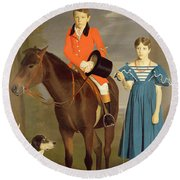 John Gubbins Newton And His Sister Mary Round Beach Towel