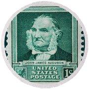 John James Audubon Postage Stamp Round Beach Towel