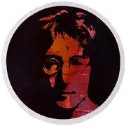 John Lennon Watercolor Round Beach Towel