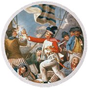 John Paul Jones Shooting A Sailor Who Had Attempted To Strike His Colours In An Engagement Round Beach Towel