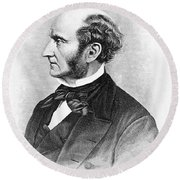 John Stuart Mill Round Beach Towel