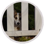 Johnny And The Picket Fence Round Beach Towel