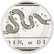 Join Or Die French And Indian War Round Beach Towel