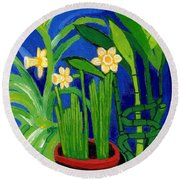 Jonquils And Bamboo Plant Round Beach Towel