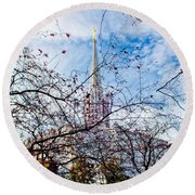 Jordan River Temple Branches Round Beach Towel