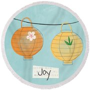 Joy Lanterns Round Beach Towel by Linda Woods