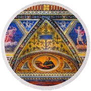 Jp Morgan Library Ceiling Detail Round Beach Towel