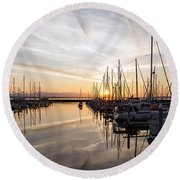 July Evening In The Marina Round Beach Towel