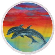 Jumping Dolphins Left Round Beach Towel