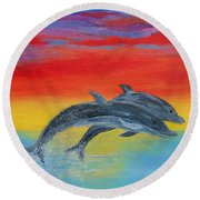 Jumping Dolphins Right Round Beach Towel