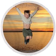 Jumping For Joy Round Beach Towel by Ted Kinsman