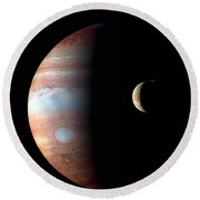 Jupiter And Io Round Beach Towel