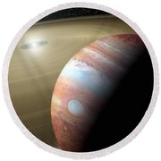 Jupiter And Moon Round Beach Towel