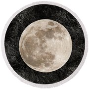Just A Little Ole Super Moon Round Beach Towel