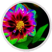 Just Another Regular Flower In The Garden Round Beach Towel
