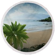 Ka Makani Olu Olu  -  Polo Beach Maui Hawaii Round Beach Towel