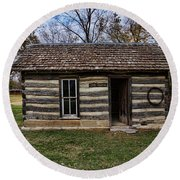 Kansas Log Cabin Round Beach Towel