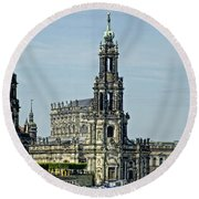 Katholische Hofkirche - Dresden Round Beach Towel