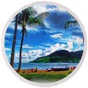Kauai Beach And Palms Round Beach Towel