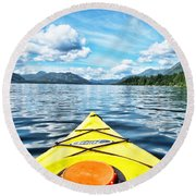 Kayaking In Bc Round Beach Towel