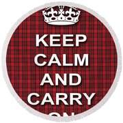Keep Calm And Carry On Poster Print Red Black Stripes Background Round Beach Towel
