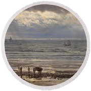 Kelp Gatherers Round Beach Towel by Henry Moore