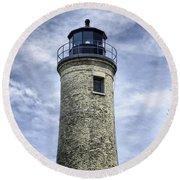 Kenosha Southport Lighthouse Round Beach Towel