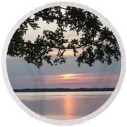 Kentucky Lake At Sunsset Round Beach Towel