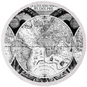 Keplers World Map, Tabulae Round Beach Towel by Science Source